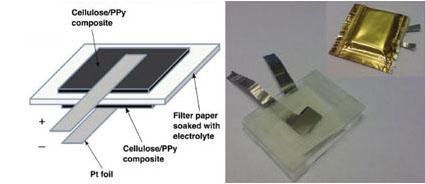 ภาพแบตเตอรี่กระดาษจากสาหร่าย ภาพทางด้านซ้ายแสดงส่วนต่าง ๆ ของแบตเตอรี่ ส่วนทางด้านขวา คือภาพของแบตเตอรี่กระดาษก่อน และหลังหุ้มด้วยแผ่นอลูมินัม